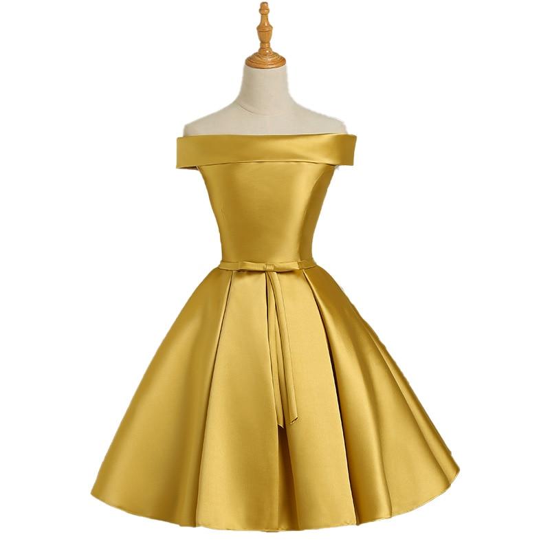 Vestidos de dama de honor de satén dorado sin hombros, vestido de...