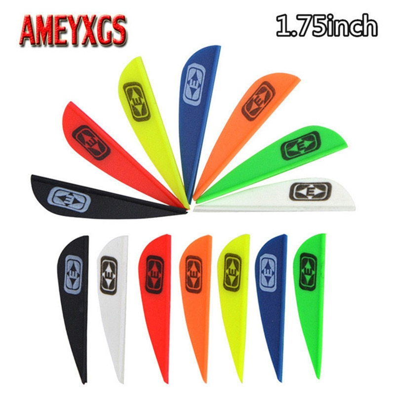 50 Uds pluma de flecha de Tiro con Arco 1,75 pulgadas plumas de goma 7 colores flecha eje Fletching Vanes arcos al aire libre caza accesorios de tiro