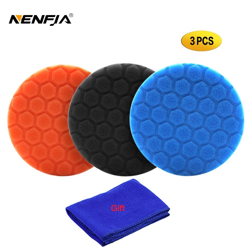 "3pcs 3""/4""/5""/6""/""  inch Sponge Polishing Pad Kit for Car Polisher Home DIY Waxing Buffing Foam Pad Blue Black Orange"
