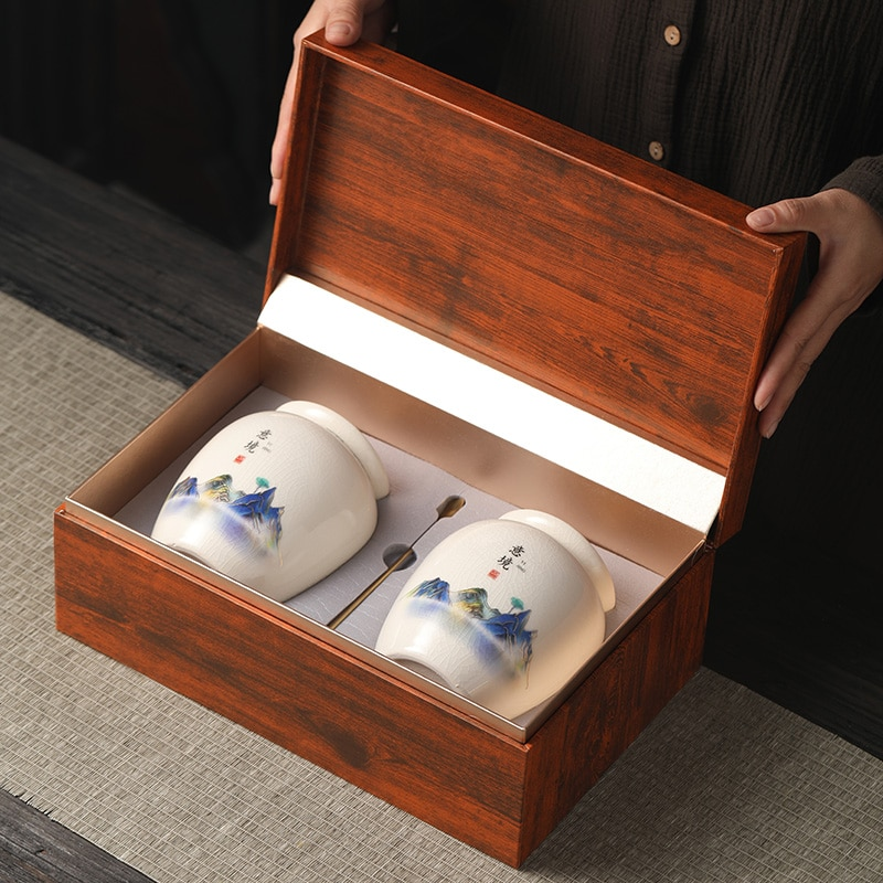 المحمولة شاي سيراميك جرة فاخرة المطبخ التعبئة والتغليف الصينية الشاي العلبة حاوية جرة Pojemnik السيراميك تخزين منظم EA60CG