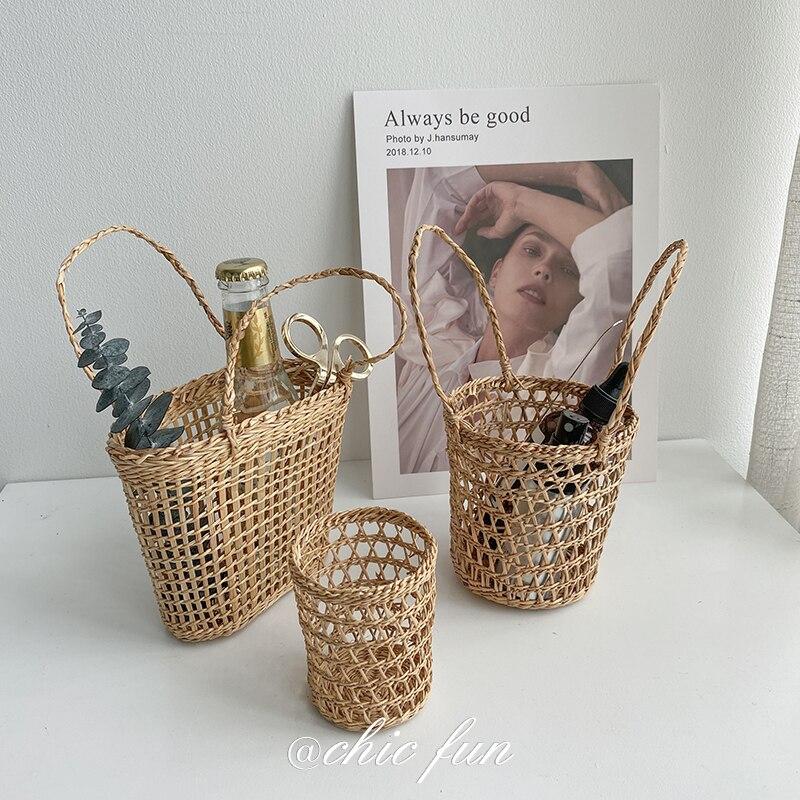 سلة صغيرة مصنوعة يدويًا من الخيزران والقش ، سلة منسوجة من الخيزران ، حامل قلم ، تخزين محمول