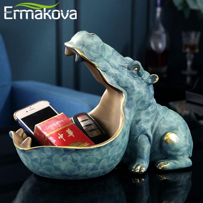 ERMAKOVA-estatua de hipopótamo de resina, escultura de hipopótamo, llavero, contenedor de dulces, decoración para mesa del hogar, accesorios de decoración