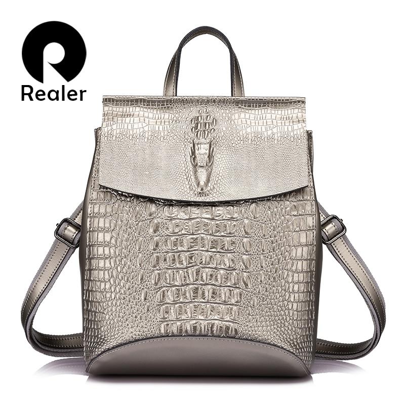 REALER женский рюкзак из сплит кожи с крокодиловым принтом, рюкзак школьный для девочек подростков, сумка через плечо для женщин,дамские сумки ...