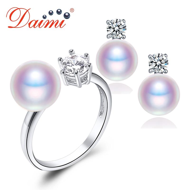 DMSFP046 7-8mm conjuntos de joyas de perlas naturales púrpura/rosa/Blanco/Negro conjunto de perlas para mujer