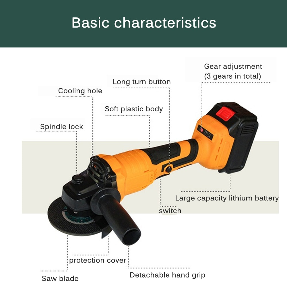 Angle Grinder Brushless Cordless Impact Angle Grinder Electro Mechanical Chain Saw Woodworking DIY Electric Cutting Machine Tool enlarge