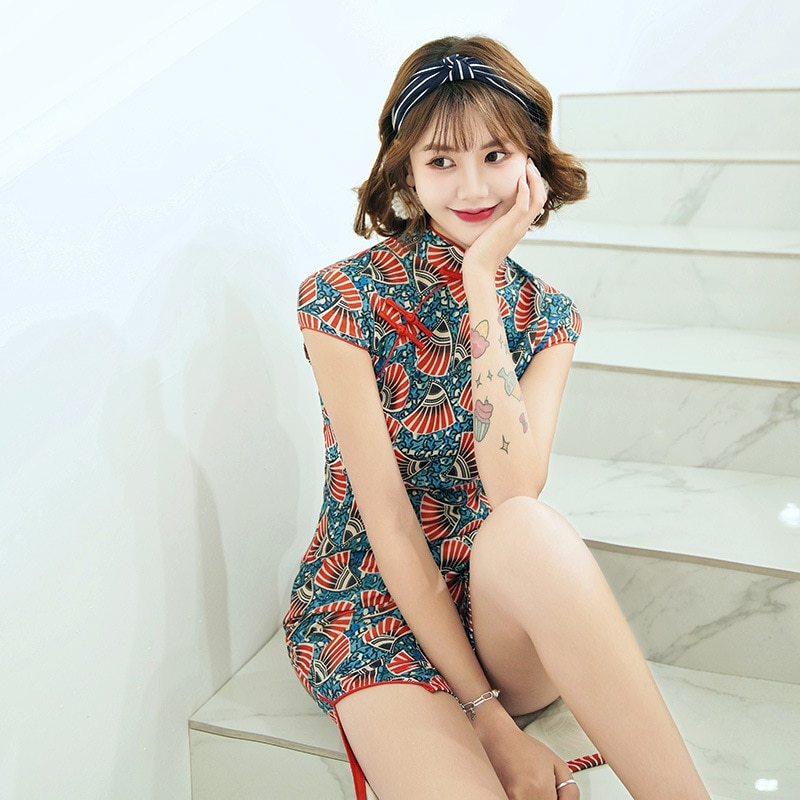 Sheng Coco Oriental Sexy Retro corto Qipao vestido tradicional chino Fans de las mujeres mandarín Collar Mini Cheongsam