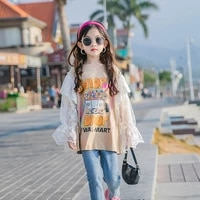 girls long sleeved t shirt spring 2021 new korean print tops kids lace bottoming shirt