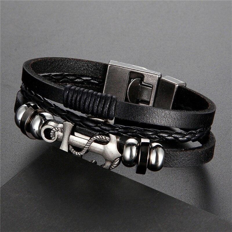 2020 nuevo diseño de alta calidad pulseras de cuero multicapa encanto hombres ancla pulsera joyería fiesta buen regalo masculino Pulseira