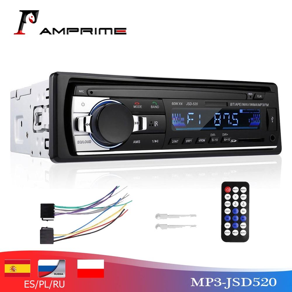 AMPrime 12V 1 DIN Car Radio Player Bluetooth Stereo FM MP3 USB SD AUX Audio Auto Electronics Autoradio Oto Teypleri Radio Para