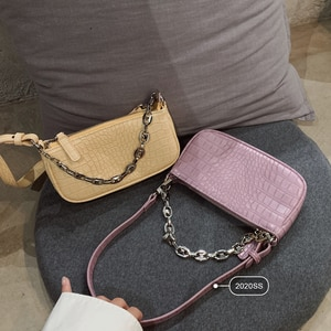 New Vintage Underarm Shoulder Bag Women 2019 Pure Color Designer Chain Crocodile Pattern Handbag fashion Female Crossbody Bags