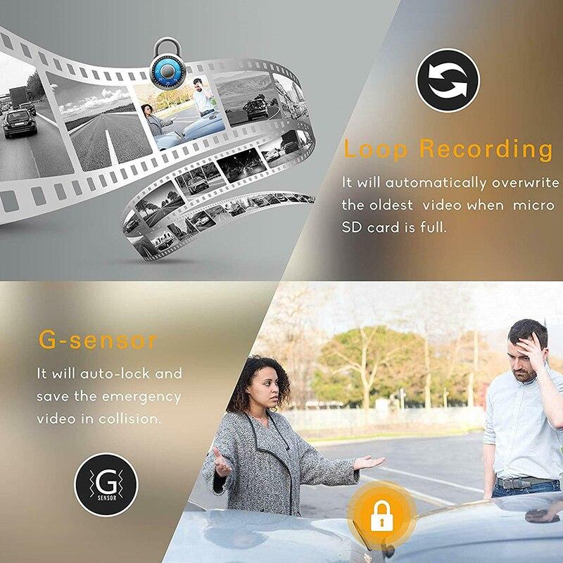 Full HD Mirror Dash Cam Video Recorder Smart Car Front Rear Dual Lens 1080P C44