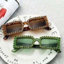 Deluxe diamond fashion small frame sunglasses women sexy personality crystal diamond sunglasses