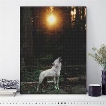 Wolf 5D Full Round diamond paint Cartoon Diamond Embroidery Christmas Diamond Mosaic Home Decor Gift