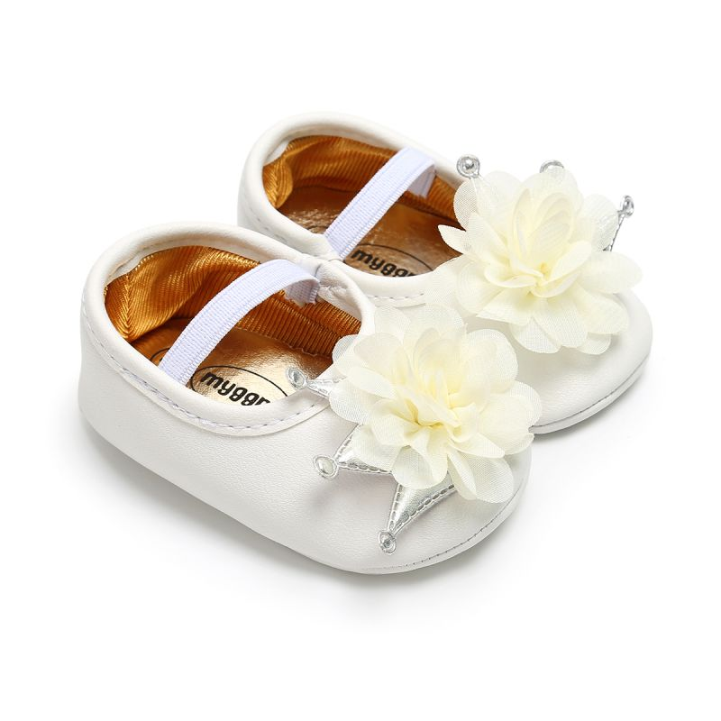 Autumn PU Infant Princess Shoes Flower Crown Baby Girl Shoes Newborn Soft Bottom Baby Shoes First Wa