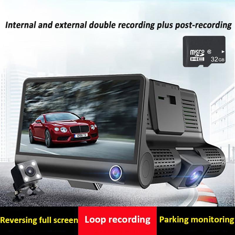 """Câmeras do carro dvr 3 lente câmera traço lente dupla 4.0 """"ips tela hd gravador de vídeo com câmera retrovisor dvrs traço cam"""