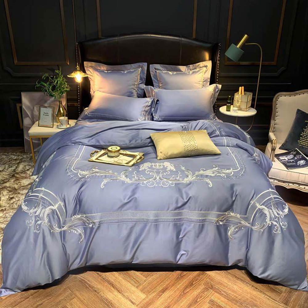 Home Phoenix 100 juego de cama de algodón egipcio bordado ropa de cama tamaño Queen funda nórdica equipada sábana plana almohada Shams