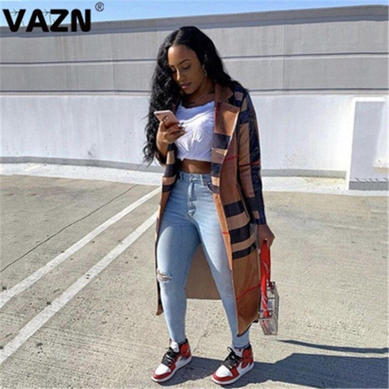 Vazn 2020 inverno quente mais recente estilo high-end clássico xadrez jovem elegante moda completa manga feminina magro x-long outwears