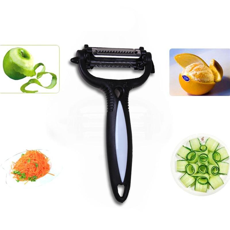 3 en 1 peladores y zesteres cortador de frutas vegetales patatas pelador zester rascador con hoja parer despellejo cuchillo herramientas de cocina