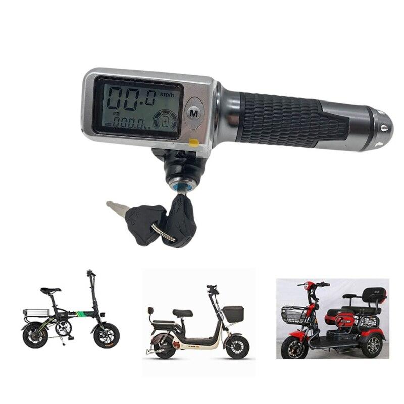 عداد السرعة/عداد المسافات + الخانق LCDdisplay36v48v60v + قفل/كروز + مؤشر البطارية للسكوتر الكهربائي دراجة ثلاثية العجلات MTB