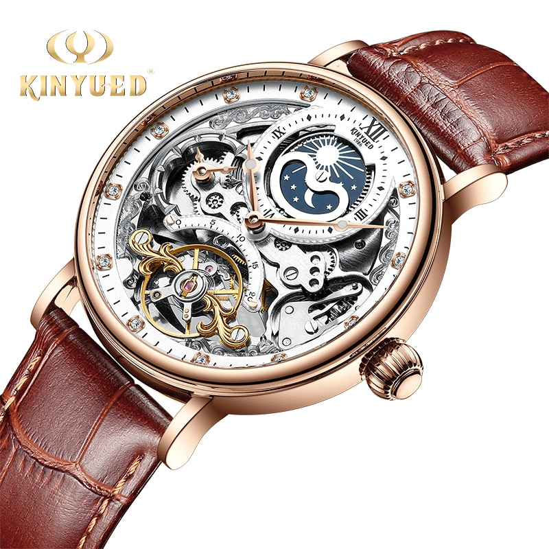 KINYUED Skeleton Watches Mechanical Automatic Watch Men Tourbillon Sport Clock Casual Business Moon