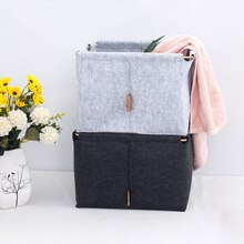 Felt Storage Basket with Metal Handle Simple Toys Book Sundries Organizer Box Home Clothes Towel Laundry Basket Grey Black