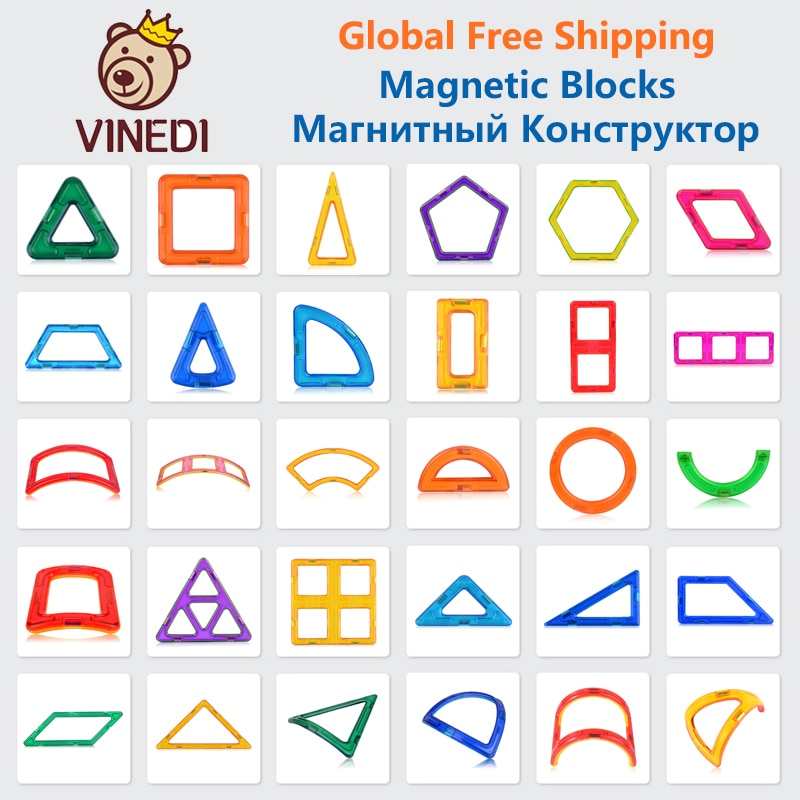 VINEDI Big Size Magnetic Designer Construction Set Model & Building Toy Magnets Magnetic Blocks Educ