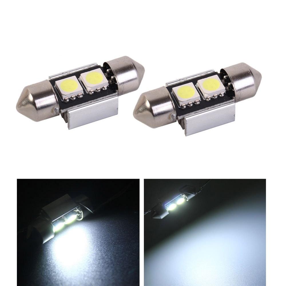 2x blanco 31mm 5050 2SMD Interior del coche matrícula Interior luz cúpula de techo Luz de Lectura LED bombilla C5W 3423, 3425, 6411, 6418