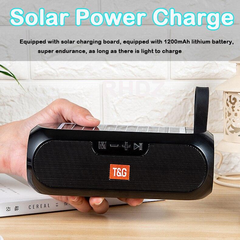 TG182-altavoz Portátil con Bluetooth, columna de música estéreo, Banco de energía Solar,...