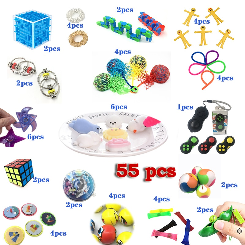 Stress Relieve Fidget Toy Combination 55 Pieces Extrusive-Solving Kids Hot Selling Various Styles Set Wholesale