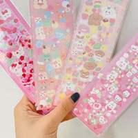 Розовый кавайный медведь, лазерная светящаяся наклейка для скрапбукинга, канцелярские принадлежности, наклейка s в эстетическом Корейском ...