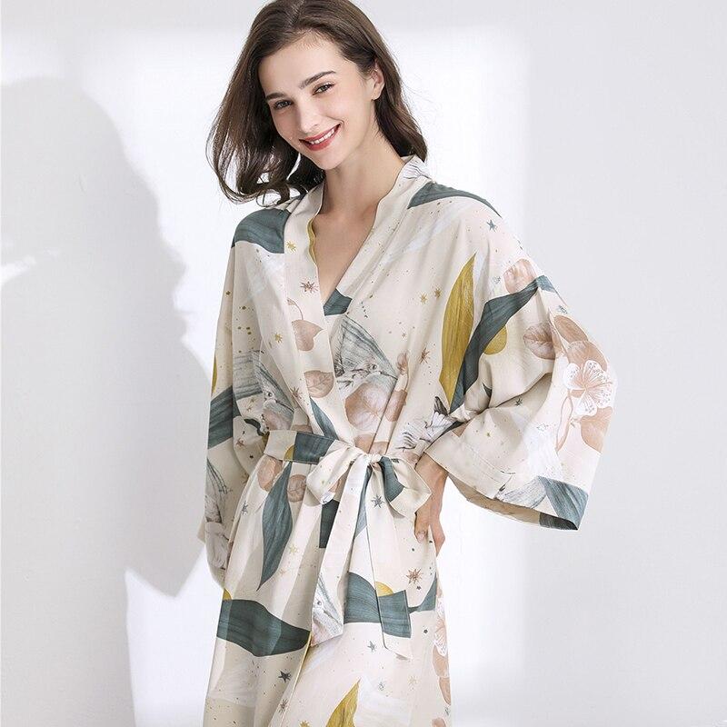 Julysong s song novo sleepwear robe primavera fina algodão-seda mulher camisola flor impressa manga longa pijamas roupão para feminino