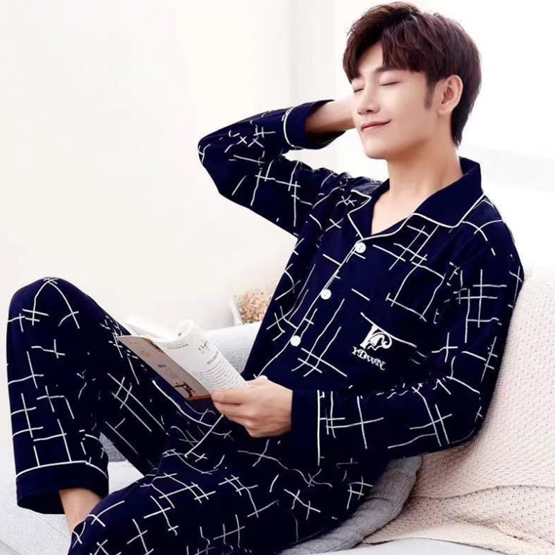 2021 Summer Casual Striped Cotton Pajama Sets for Men Short Sleeve Long Pants Sleepwear Pyjama Male Homewear Lounge Wear Clothes