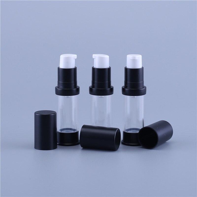 200 قطعة 5 مللي فارغة مضخة تفريغ الهواء زجاجة 5cc إعادة الملء البلاستيك غسول للسفر مع الأسود العلوي والسفلي