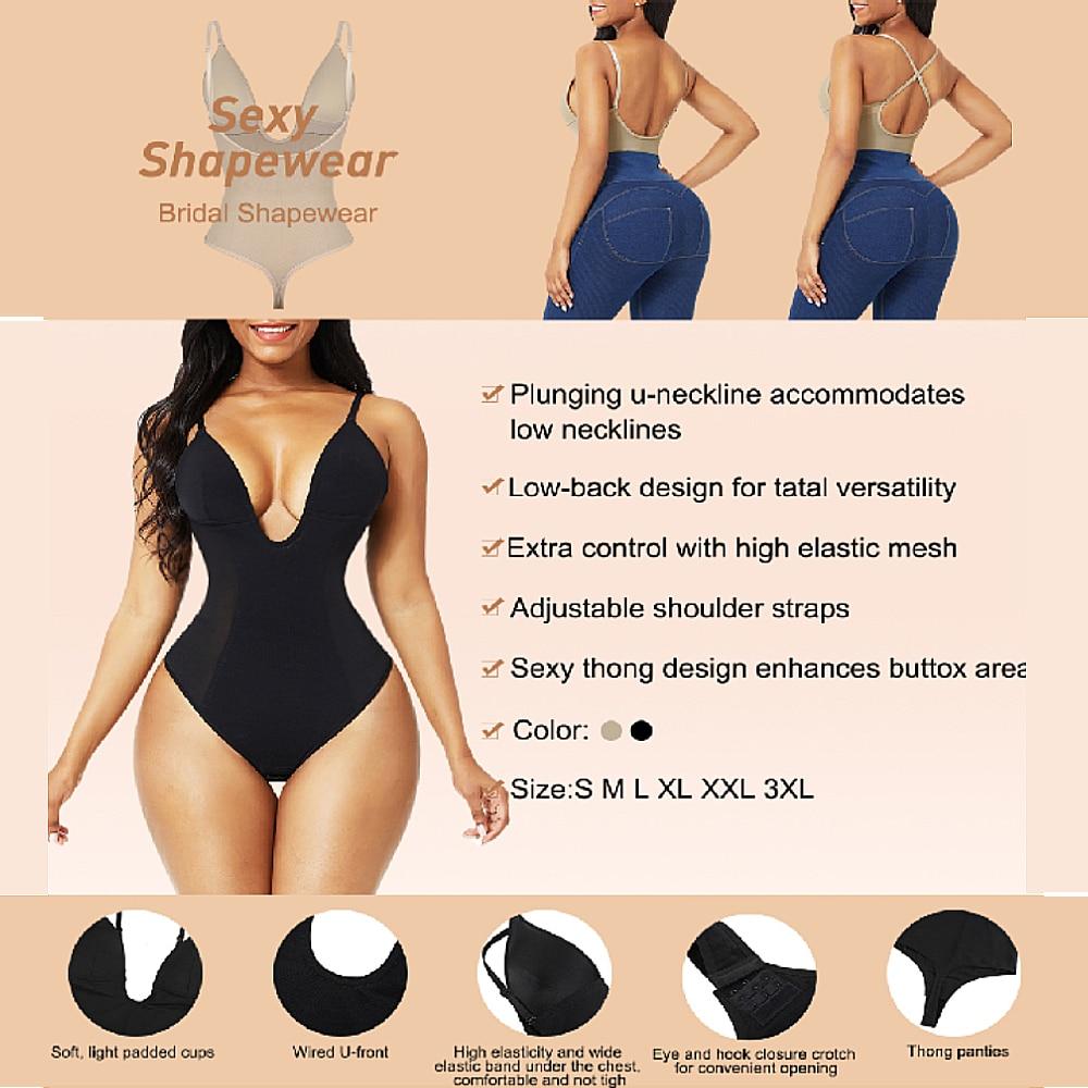 Для женщин Глубокий V-образный вырез, открытая спина, боди ремень с u-образным вырезом стринги Корректирующее нижнее белье, бесшовное нижнее белье, сексуальное женское белье невидимый бюстгальтер средства ухода за кожей-4