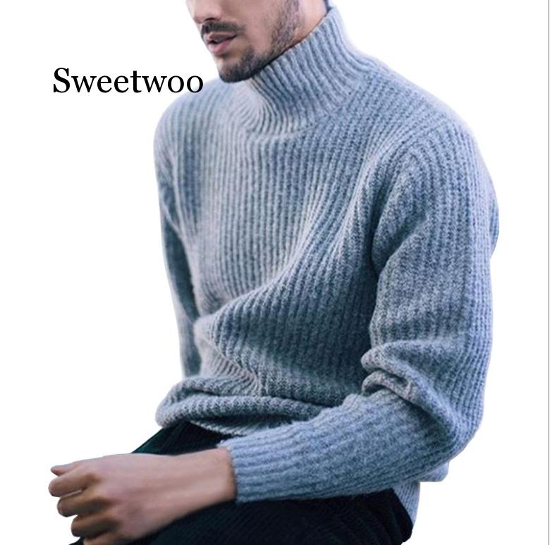 Winter Thick Warm Cashmere Sweater Men Turtleneck Mens Sweaters Slim Fit Pullover Men Classic Wool Knitwear Pull Homme недорого