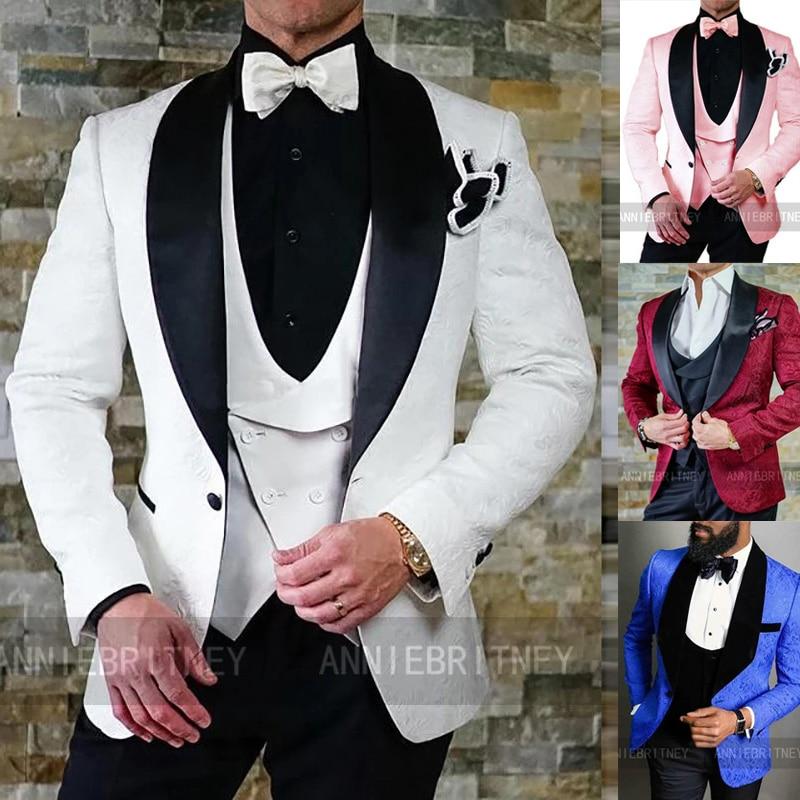 أحدث الدعاوى رجالي لحفلات الزفاف حفلة موسيقية أبيض أسود الجاكار الطباعة دعوى السترة مع سترة مجموعة بناطيل رجالي 3 قطع الزواج زي