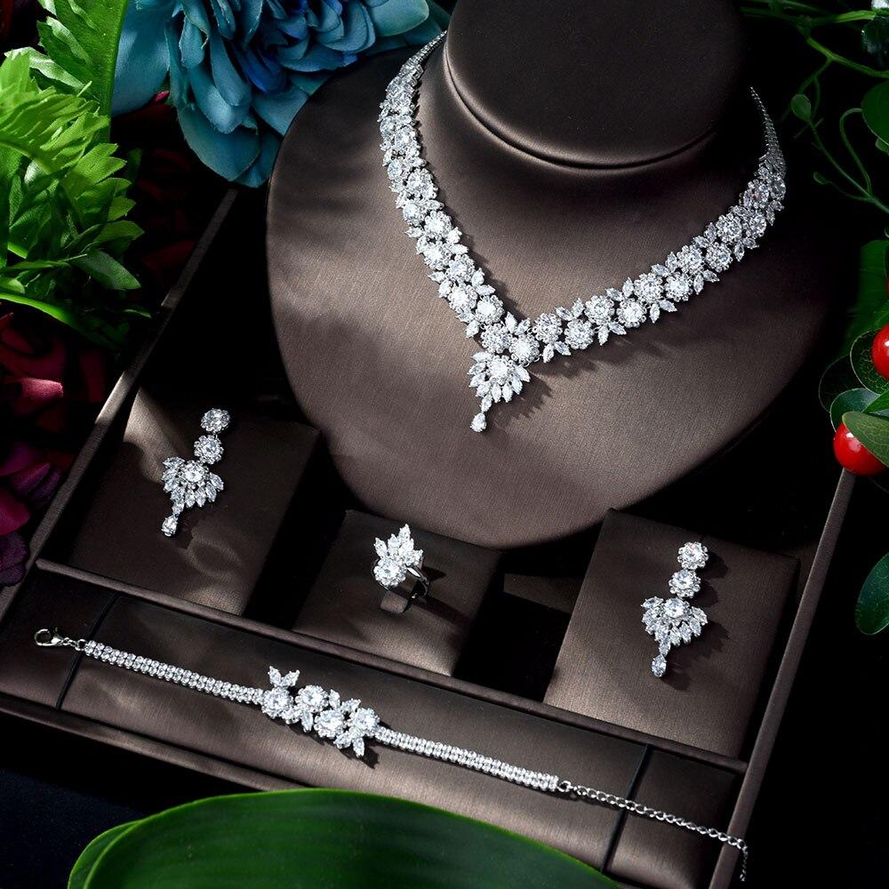 HIBRIDE exclusivo Cubic Zirconia 4 Uds conjunto de joyas turcas Vners 2020 brillante borla de cobre Dubai conjuntos de joyas para damas N-920
