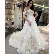 Off Shoulder Princess Wedding Dresses with Long Trail Appliqued Lace Tulle Vestido De Noiva Bridal Gowns Custom Made Plus Size