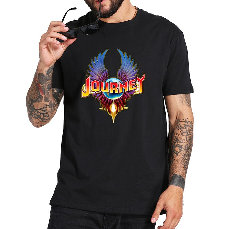 Camiseta Journey con Logo de banda de Rock americano, Camiseta básica cómoda de algodón 100% talla europea de manga corta