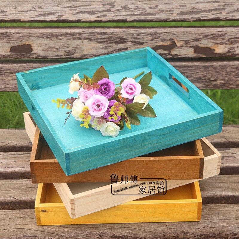 صينية خشبية مربعة عتيقة ، صينية خبز خشبية ، كوب ، صينية منزلية ، صينية تخزين C