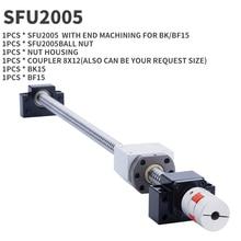 Schraube 2005 1PC 20MM Ball schraube SFU2005 Ende Bearbeitet + RM2005 einzigen Kugel Mutter + BK15 BF15/fkff15/ekef15 Ende Unterstützung + koppler 8x12mm