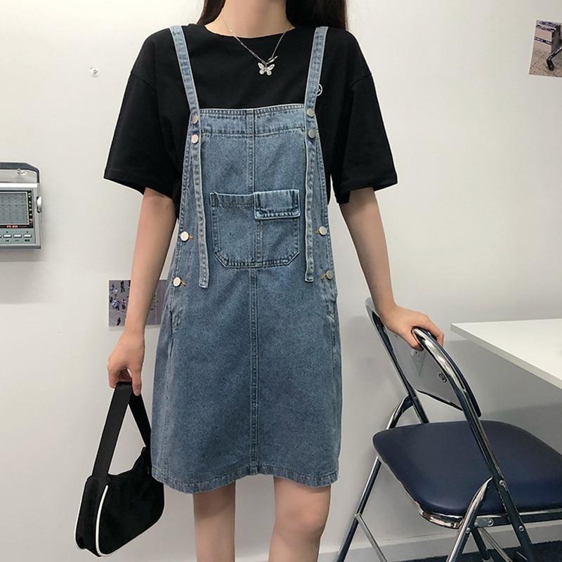 Estilo de pijo Coreano 2020 verano mujeres solid color suelto corto correas denim dess mujer una línea jeans vestido para mujer (78359