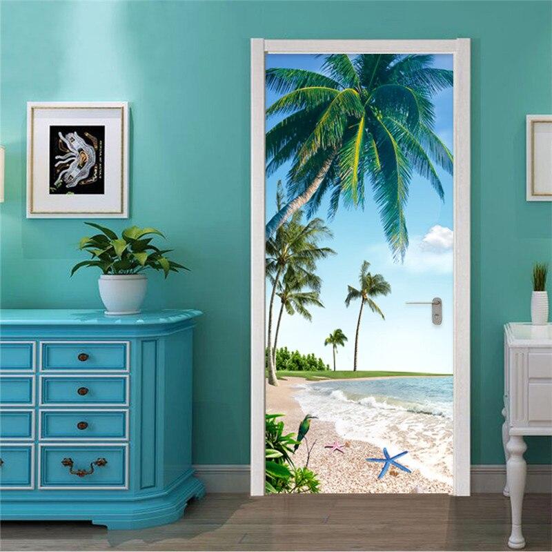 2 unid/set autoadhesivo pegatina para puerta 3D Beach Coconut Palm papel de pared con paisaje restaurante baño impermeable decoración de pared