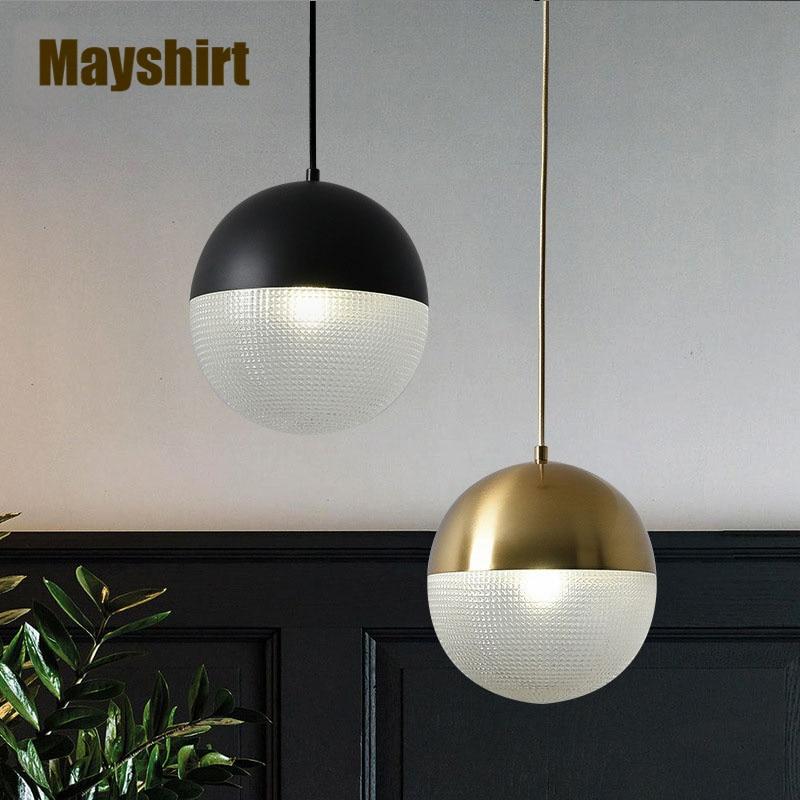 الشمال الذهب الحديد كرة زجاجية قلادة أضواء لغرفة النوم المطبخ بار غرفة الطعام ضوء غرفة المعيشة ديكور الحديثة تجهيزات مصابيح ليد