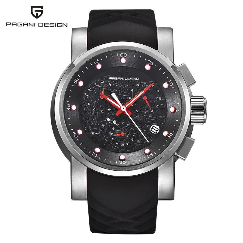 Relojes para hombre marca de lujo superior PAGANI diseño deportivo militar Quatz reloj correa de silicona cronógrafo impermeable reloj de pulsera para hombre A