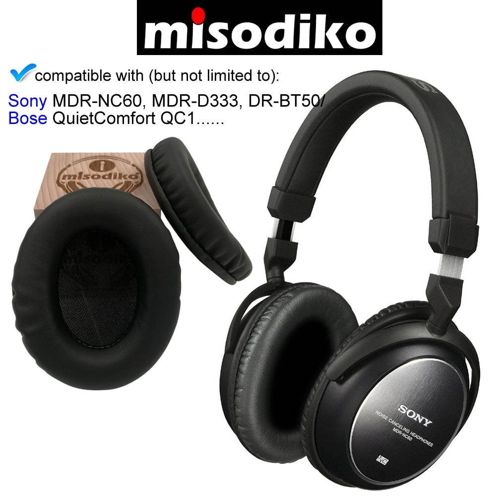 misodiko Replacement Ear Pads Cushions Kit - for Bose QuietComfort QC 1 and Sony MDR-NC60 D333, DR-BT50  Headphones Earpads enlarge
