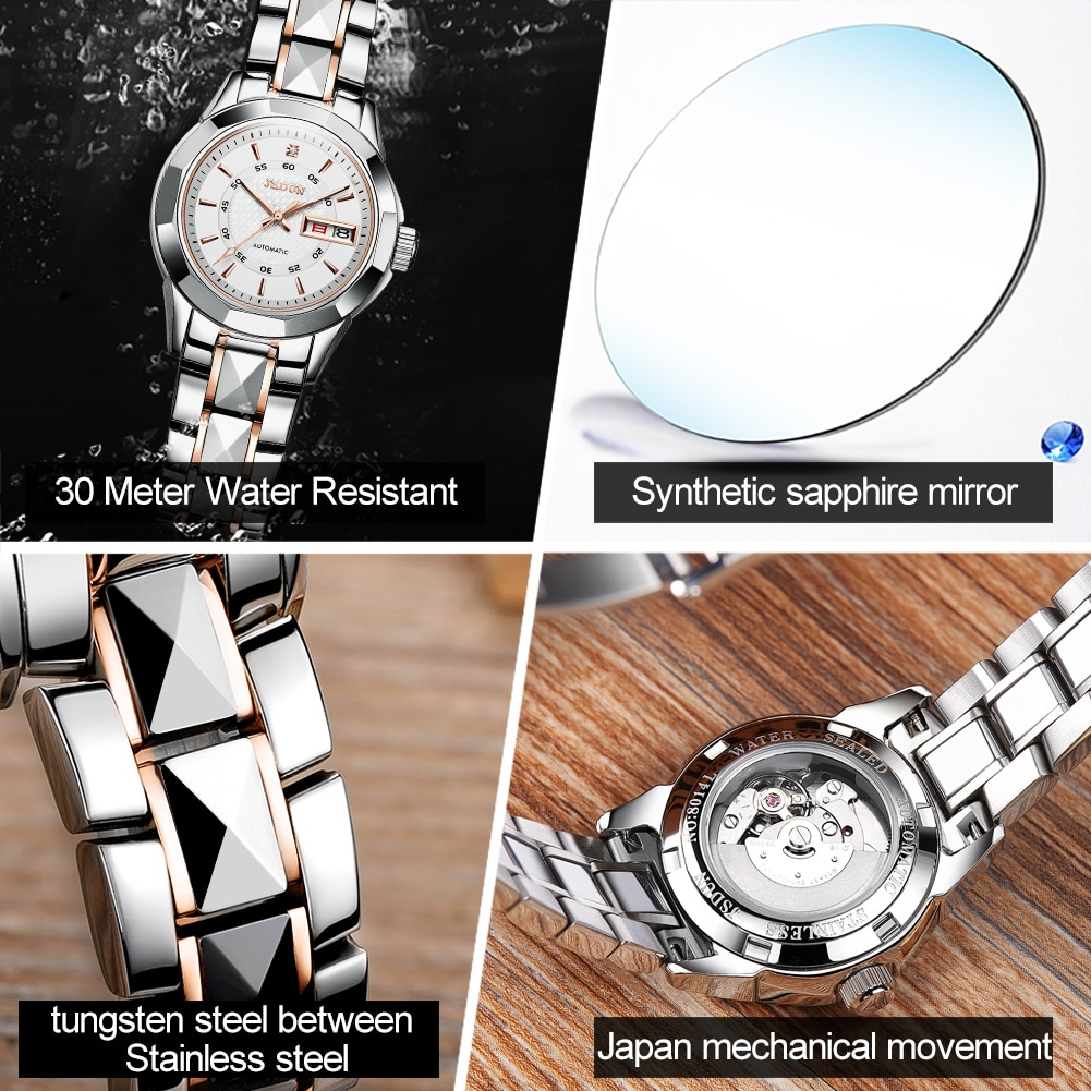 Women's automatic mechanical wristwatch business casual style with tungsten steel watchband luminous hands brand female clock enlarge