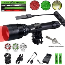 Green/Red/White Hunting Flashlight 500 Yards Tactical Torch Water Resistant Zoomable Rifle Lantern w