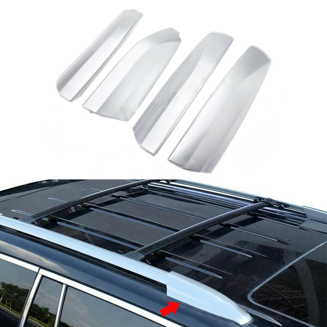 Coche 4 Uds plata techo final cubierta carcasa para Toyota Highlander XU40 2008, 2009, 2010, 2011, 2012, 2013