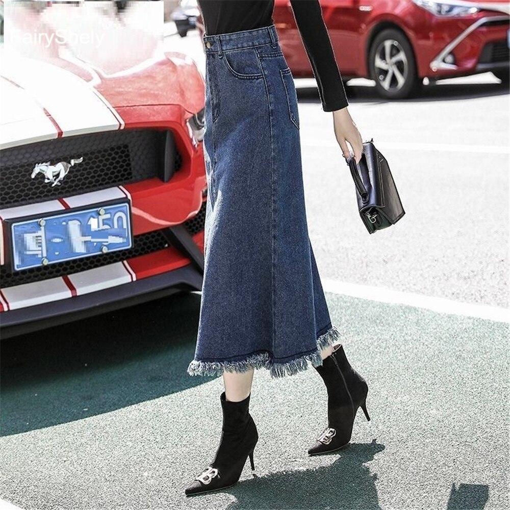 FairyShely-تنورة جينز عالية الخصر للنساء ، متوسطة ، غير رسمية ، زرقاء صلبة ، مجموعة خريف 2020
